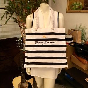 Tommy Bahama Large Blue Striped Canvas Tote Bag